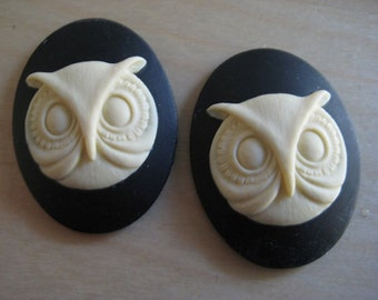 Owl Head Cameos 26mm x 18mm Resin lot of 2