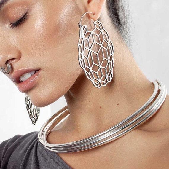 Brass Hoops Geometric Earrings Brass Earrings Gold Earrings Gold Hoops Hoop Earrings Big Earrings Boho Jewelry Statement Earrings