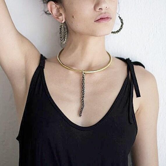 Choker Collar Vanilla Metal Choker Boho Pendant Delicate Metal Choker Statement Jewelry Boho Jewelry