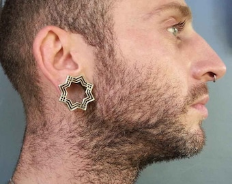 Diamond Tunnels - Stretched Lobes - 22K Gold Plated Tunnels - Plugs - Body Piercing Jewelry