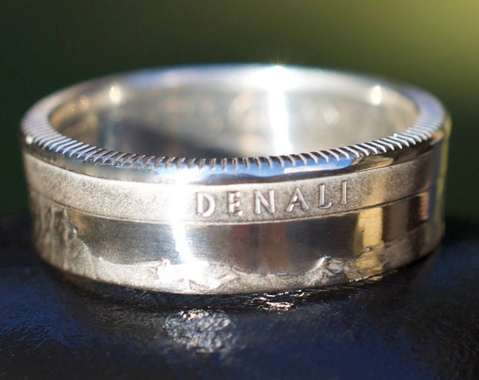SILVER Denali Alaska Quarter Ring Sizes 6-10 90% Silver Coin Ring