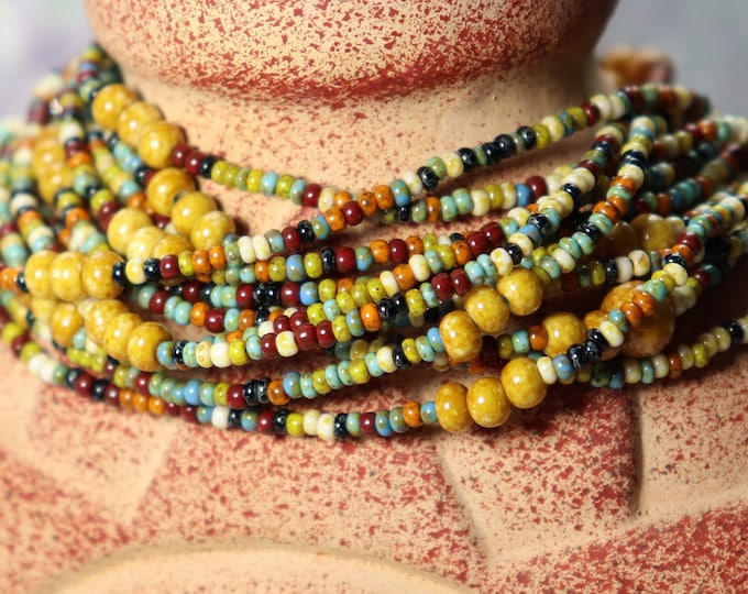 Earth tones Mulitcolored Long Wrap Beaded Bracelet