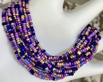 Purple Passion Extra-long Wrap Stretch Bracelet, Necklace or Anklet