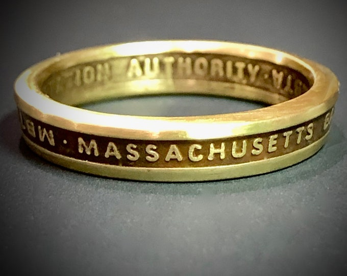 """MBTA """"T"""" Token Ring Massachusetts Bay Transportation Authority-FREE Resizing-My Rings in the NY Daily news"""