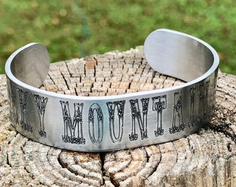 Rocky Mountain High Engraved Cuff Bracelet