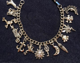 Charm Bracelet with 14 Charms OOAK