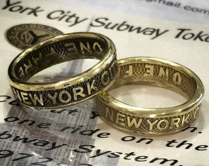 New York City Subway Token Ring FREE RESIZING--My Rings in the NY Daily News--Finish Option-1/4 Sizes Available-Sealed