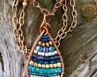 Desert Blues and Gold Beaded Copper Wire Pendant Necklace