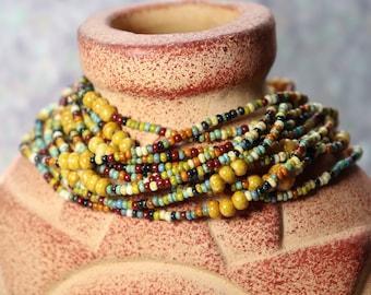 Earth tones Mulitcolored Long Wrap Beaded Bracelet