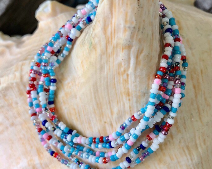 Baby Blue and Pink Mulitcolored Long Wrap Beaded Bracelet