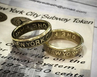New York City Subway Token Ring FREE RESIZING--My Rings in the NY Daily News--Light or Dark Option--1/4 Sizes Available