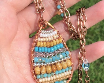 Southwest Style Beaded Copper Wire Pendant Necklace