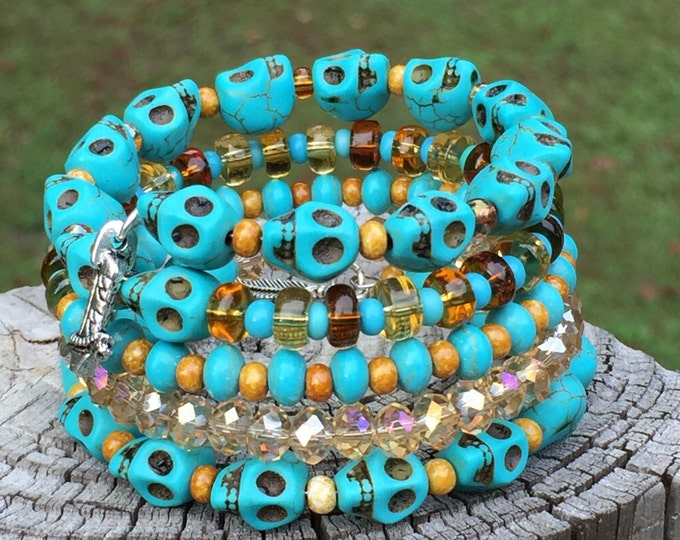 Memory Wire Bracelet Skulls Crystals Glass Beads Turquoise Amber Brown
