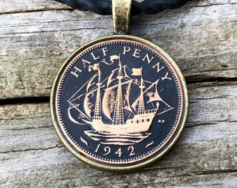 British Half-Penny Necklace 1942 with Ship and Black Background