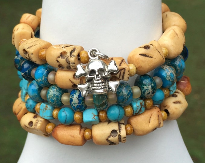 Memory Wire Bracelet Skulls Bone Gemstones Glass Beads Turquoise Amber Brown