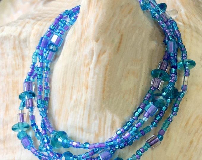 Blue & Purple Ice Long Wrap Beaded Bracelet