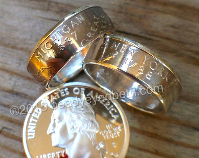 SILVER State Quarter Rings FREE RESIZING Sizes 5-13 90% Silver Coin Ring