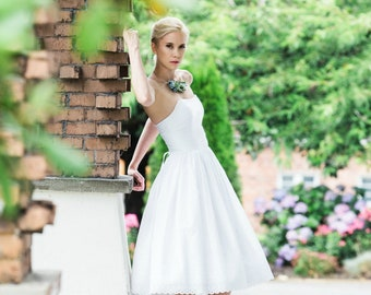 Short Wedding Dress, Cotton Eyelet White, JULEP, Tea Length Reception Dress  FREE SHIPPING!