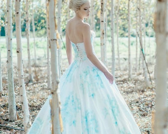 Blue Floral Wedding Dress, Watercolor, BONAPARTE, Chiffon FREE SHIPPING!