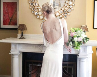 Backless Silk Wedding Dress, 1930, 1920, Art Deco, Vintage Inspired, CHANDELIER, Silk Bias Crepe  FREE SHIPPING!