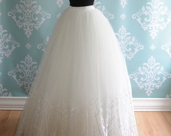 Tulle Wedding Skirt, Winter Wedding Separates, WILLOW, Ivory Embroidery, FREE SHIPPING!