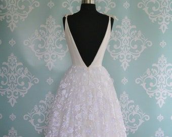 Tea Length Wedding Dress, 3D Floral Embroidered, JULIET, Backless, FREE Shipping!