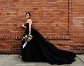 Black Wedding Dress, Tulle Skirt, Gothic, Goth, Colored Wedding Dress, Alternative TWILIGHT, FREE SHIPPING