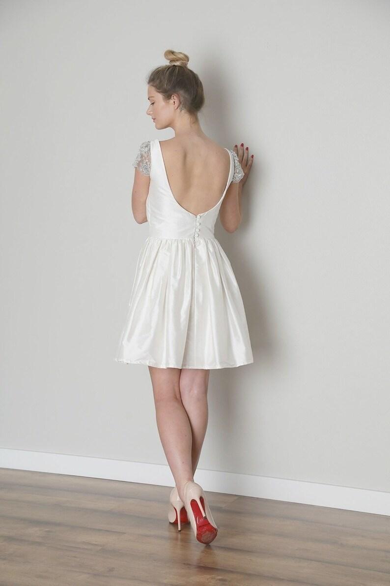 Backless Short Wedding Dress Tea Length Bateau Neckline Etsy