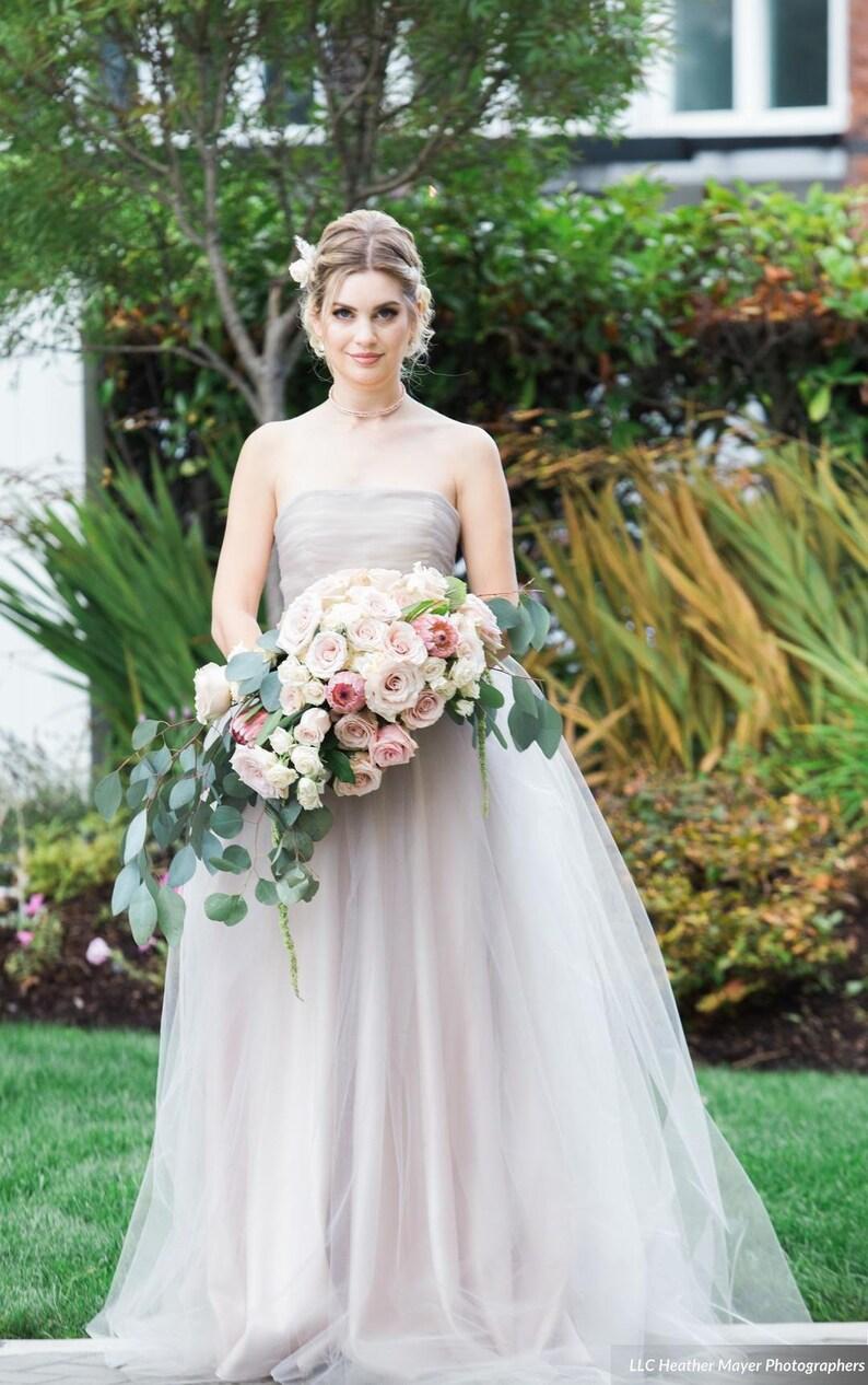 cc79e22766 Blush Tulle Wedding Dress, DAKOTA, Strapless Blush Satin Gown, Tulle  Overlay, FREE SHIPPING!