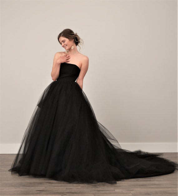 Black Wedding Dress Tulle Skirt Gothic Twilight Dress Goth Etsy
