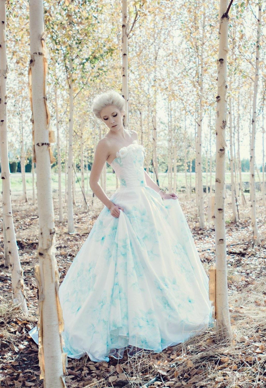 b4b5f4d531 Blue Floral Wedding Dress, Watercolor, BONAPARTE, Chiffon FREE SHIPPING!
