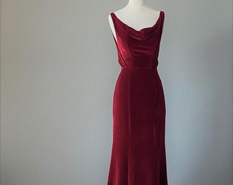 Velvet Wedding Dress, Backless, 1930, 1920, Art Deco, Vintage Inspired, COLUMBIA, Winter Wedding, Red Alternative, FREE SHIPPING!