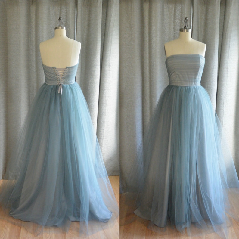 057211d16990a Blue Grey Wedding Dress READY TO SHIP, Strapless Tulle and Satin Gown, One  of a Kind, Free Shipping!