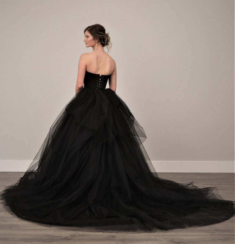 300fa0457951d Black Wedding Dress, Tulle Skirt, Gothic, Goth, Colored Wedding Dress,  Alternative TWILIGHT, FREE SHIPPING!