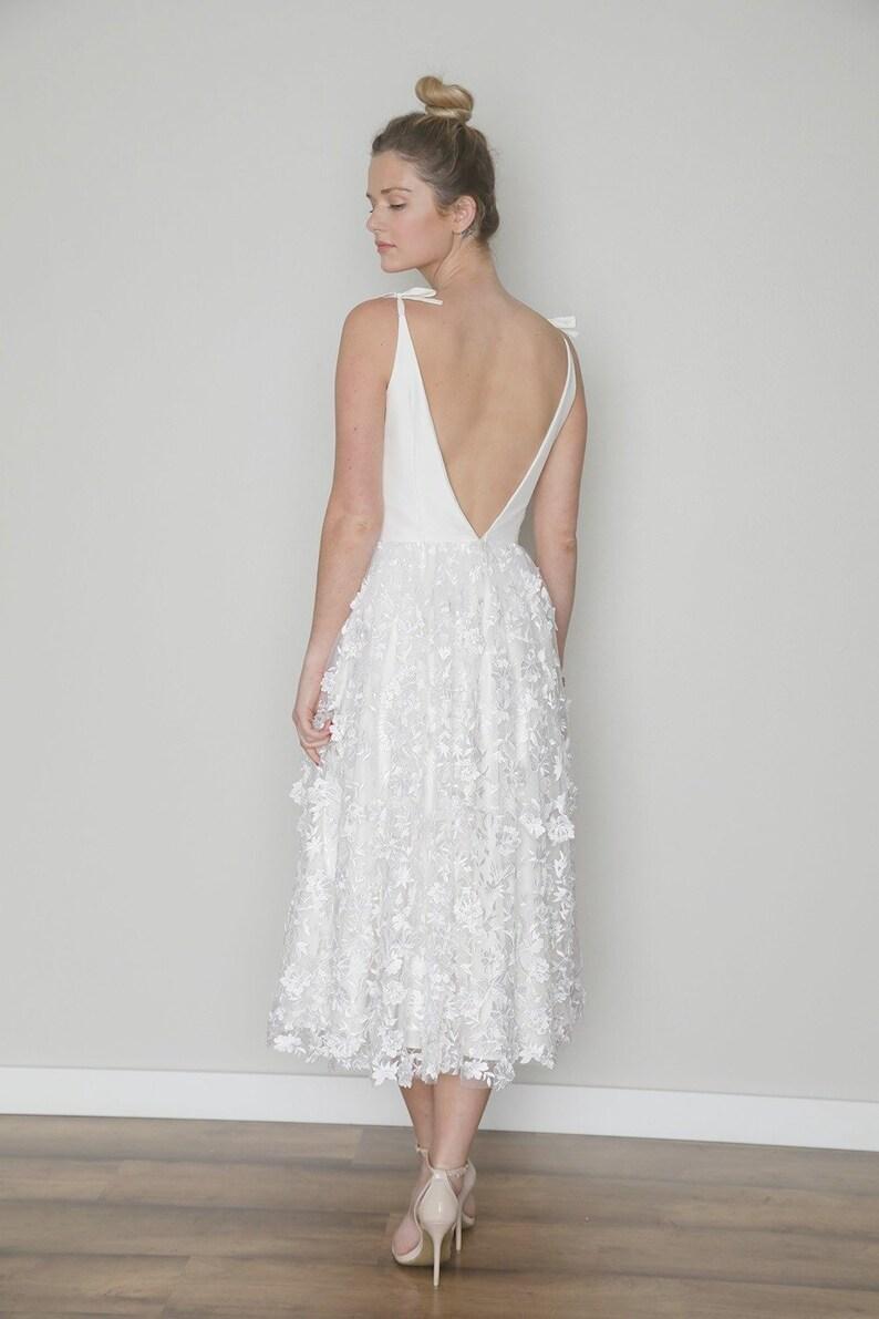 df0a1e10289b2 Tea Length Wedding Dress, 3D Floral Embroidered, Short, Civil Garden  Outdoor Wedding, JULIET, Backless, FREE Shipping!