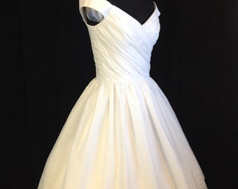 Short Wedding Dress, Off Shoulder, Cotton Eyelet, FLIR-TINI, Tea Length or Short Wedding Dress  FREE Shipping!