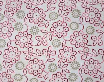 Moda -Sweetwater Project Red - 568431 -Red Taupe Floral Novelty Dot Flower Red - 1.5 Yards
