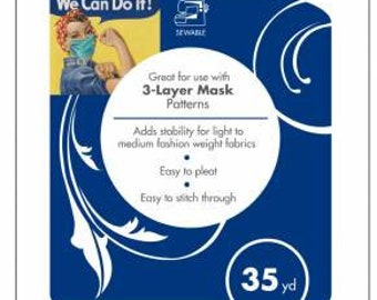 "20"" HeatnBond Sew-In Light Midweight Non-Woven Interfacing- 3 Layer Mask Interfacing"