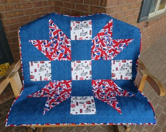Homemade Union Jack Lap - Baby/ Wall Quilt