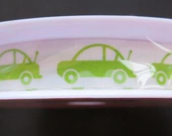 One Week Sale - Riley Blake Designs Cotton Tape Ribbon - Cars Green 25 yards