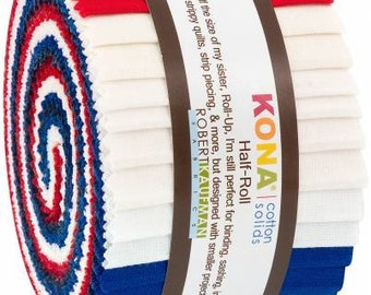 2-1/2in Strips Kona Cotton Patriotic Holiday Palette, 24pcs/bundle  HR-151-24 - Half Roll