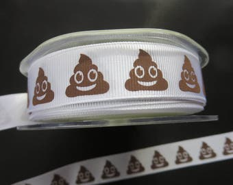 Emoji Trend - Grosgrain with Emoji Print - 3/4 Inch - Polyester - 3 Yards