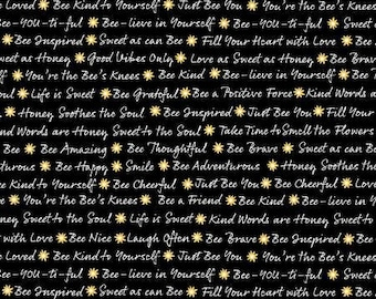 End of Bolt 1 1/4 Yards - Timeless Treasures - Save The Bees - Black Words - C8123-BLK