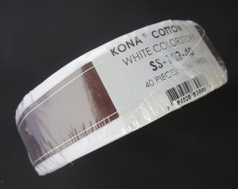 Kona  Skinny Strips/ Roll Up - 1-1/2in Strips Roll Up Kona Cotton SolidsWhite Colorstory - 40pcs - SS- 102-40