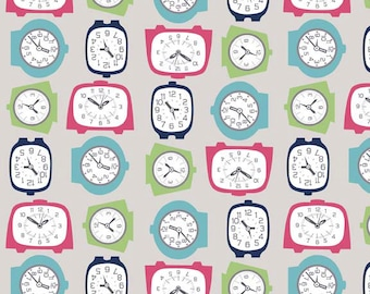End of Bolt 35 Inches Gracie Girl Clock Fabric - Gray - Out Of Print Fabric