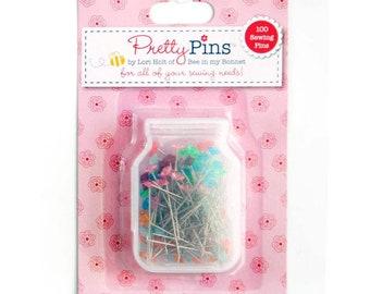 Lori Holt - Pretty Pins - 100 Sewing  Pins - 0.7mm  x 36mm Assorted Colors