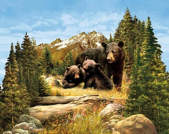 Riley Blake - Majestic Bear Panel - PD5570-BEAR - PLEASE NOTE : Panel is digitally printed