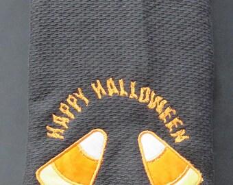 Embroidered Tea Towel - Happy Halloween
