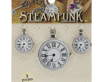 STEAMPUNK Jewelry Parts Clock Charms - STEAM016