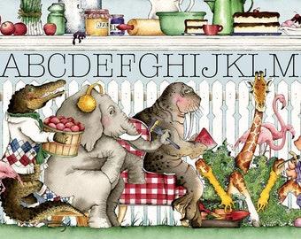 Riley Blake - Hungry Animal Alphabet Border Stripe C10181